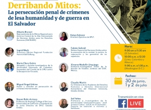 Seminario virtual Derribando Mitos se desarrollo con el apoyo de DPLF, la OACNUDH y la Fundación Heinrich Boll Stiftung en El Salvador.
